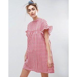 ASOS gingham ruffle sleeve shift dress